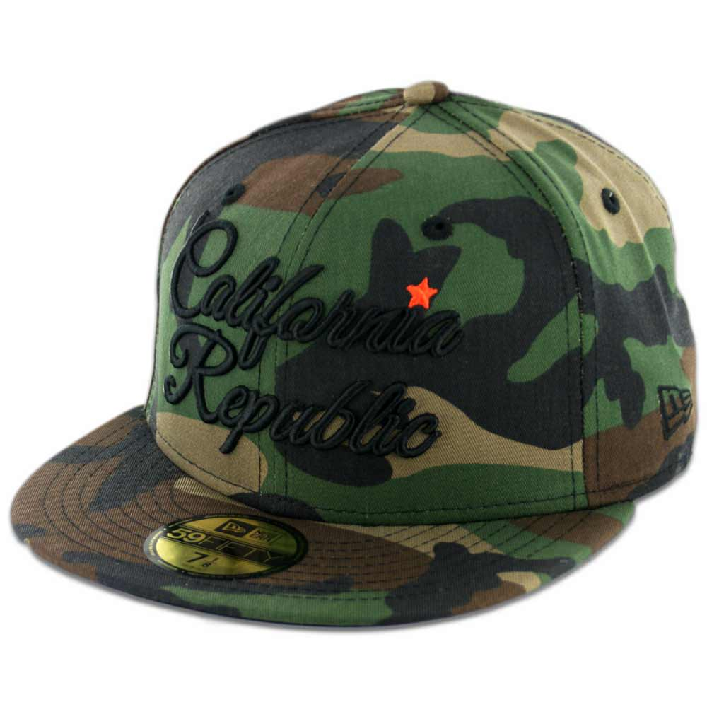 new era 5950 california republic script fitted camo black. Black Bedroom Furniture Sets. Home Design Ideas