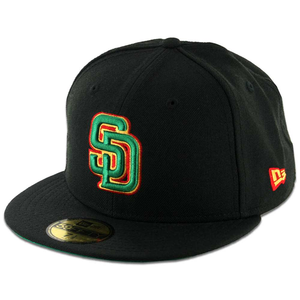 a5f15e31 New Era 59Fifty San Diego Padres Fitted Black Rasta Hat