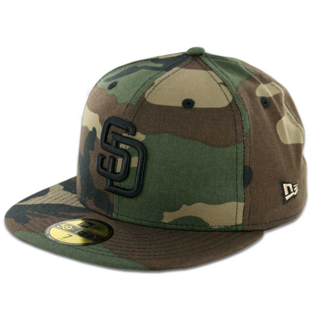 new products 571b4 29989 New Era 59Fifty San Diego Padres Fitted Hat Woodland Camo, Black