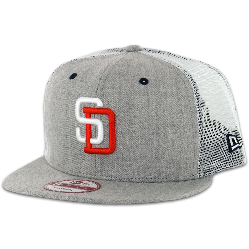 47878d3a3 New Era 9Fifty San Diego Padres Tony Gwynn Heather Grey Trucker Snapback Hat