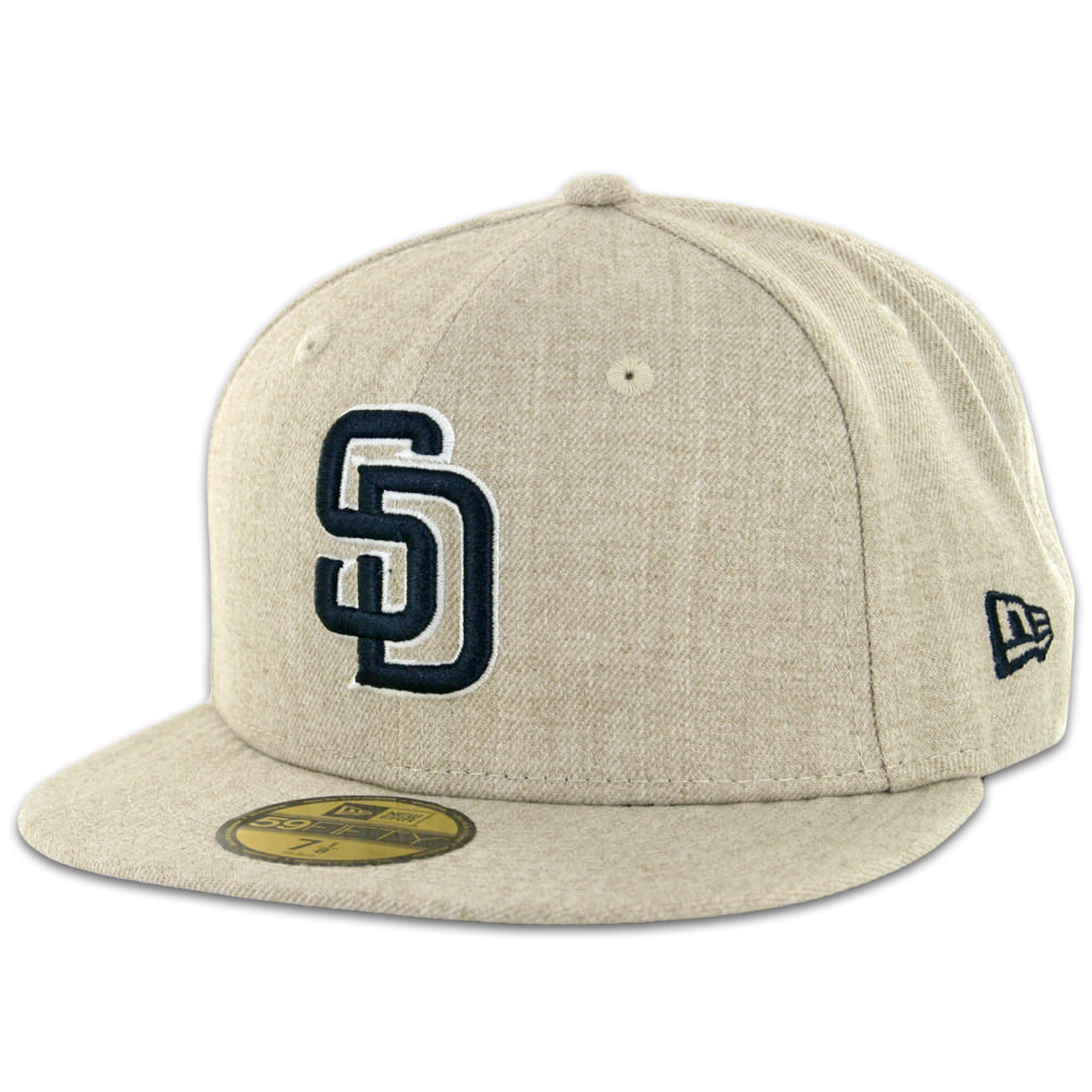 10288433 New Era 59Fifty San Diego Padres Fitted Hat Oatmeal Heather