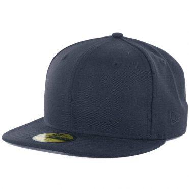 New Era Blanks 59FIFTY Plain Blank Fitted Hat Dark Navy Tonal