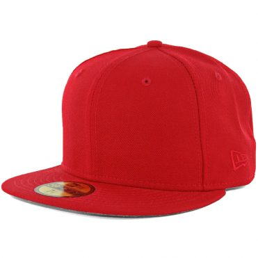 New Era Blanks 59FIFTY Plain Blank Fitted Hat Scarlet Red Tonal