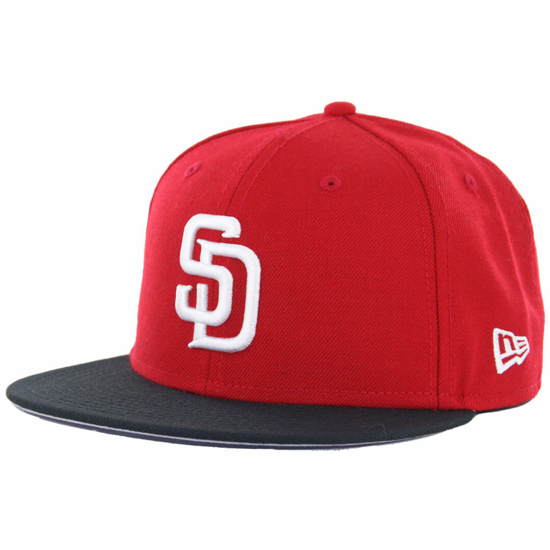 best website 0dc11 eafe4 New Era 59Fifty San Diego Padres 2 Tone Basic Fitted Hat, Red, White-Black