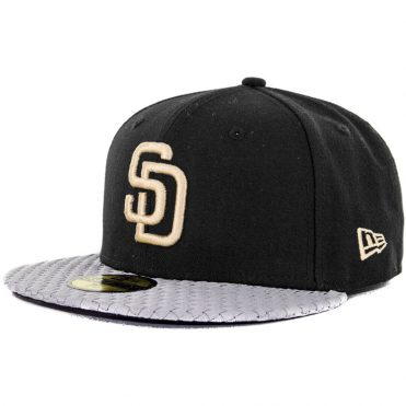 New Era x Billion Creation 59Fifty San Diego Padres Woven Visor Fitted Hat, Black/Grey