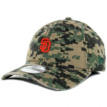 New Era 9Twenty San Diego Padres Micro Logo Digital Green Camo Orange Dad Strapback Hat