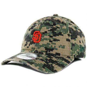 0b7a48991f1 New Era 9Twenty San Diego Padres Micro Logo Digital Green Camo Orange Dad Strapback  Hat ...