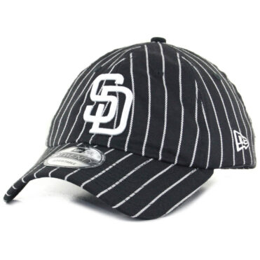 60f22bfc237 New Era x Billion Creation 9Twenty San Diego Padres Pinstripe Strapback Hat  Black White ...