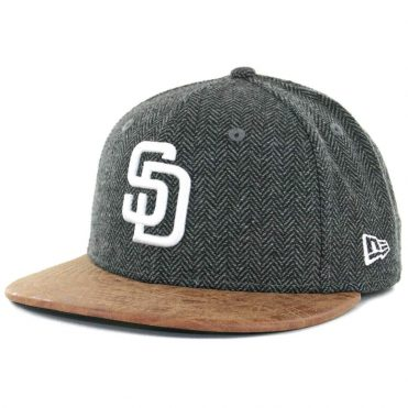 New Era x Billion Creation 59Fifty San Diego Padres Herringbone Leather Fitted Hat Black Tan