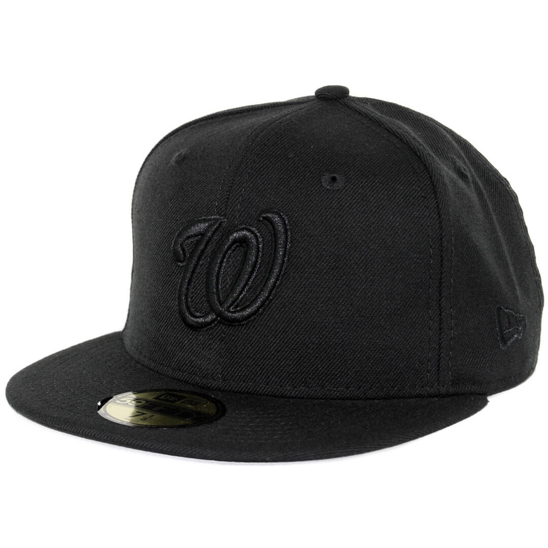 64841206 New Era 59Fifty Washington Nationals Fitted Blackout, All Black Hat ...