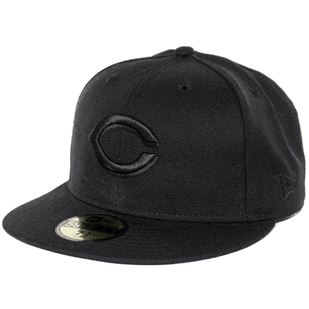 45c2bdac90da9a New Era 59Fifty Cincinnati Reds Fitted Blackout, All Black Hat ...