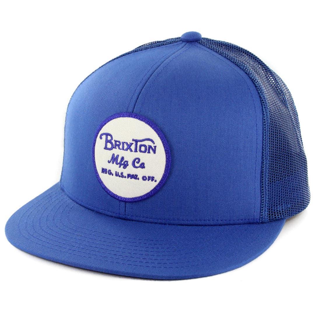 8503851f Brixton Wheeler Mesh Snapback Hat Blue White