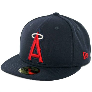 3aeff1aa New Era 59Fifty Los Angeles Angels Logo Popped Fitted Hat Dark Navy ...