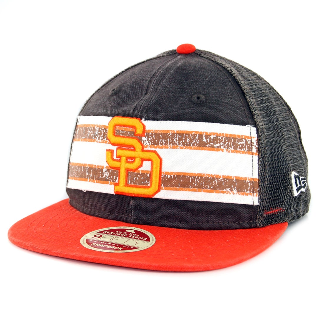 huge selection of 717d9 f244c New Era 9Fifty San Diego Padres Vintage Throwback Stripe Snapback Hat Brown  Orange