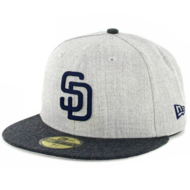 quality design c63a2 79a9f New Era 59Fifty San Diego Padres Heather Crisp 2 Fitted Hat Heather Grey  Navy ...