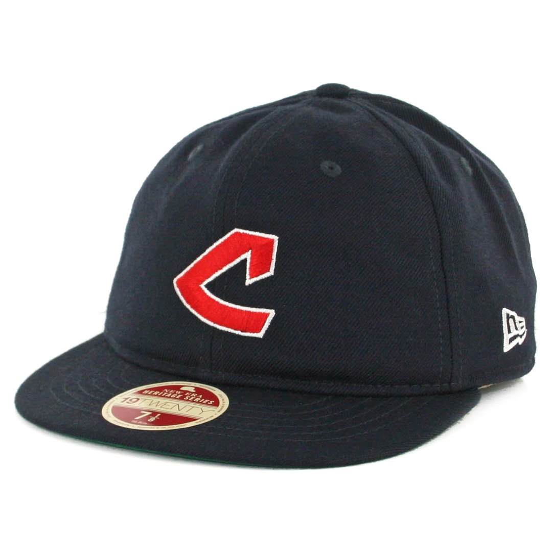 5d465239 New Era 59Fifty Cleveland Indians Vintage Wool Classic Fitted Hat Dark Navy