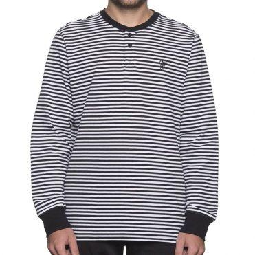 19d9411ce HUF Grayson Long Sleeve Henley Shirt Black White