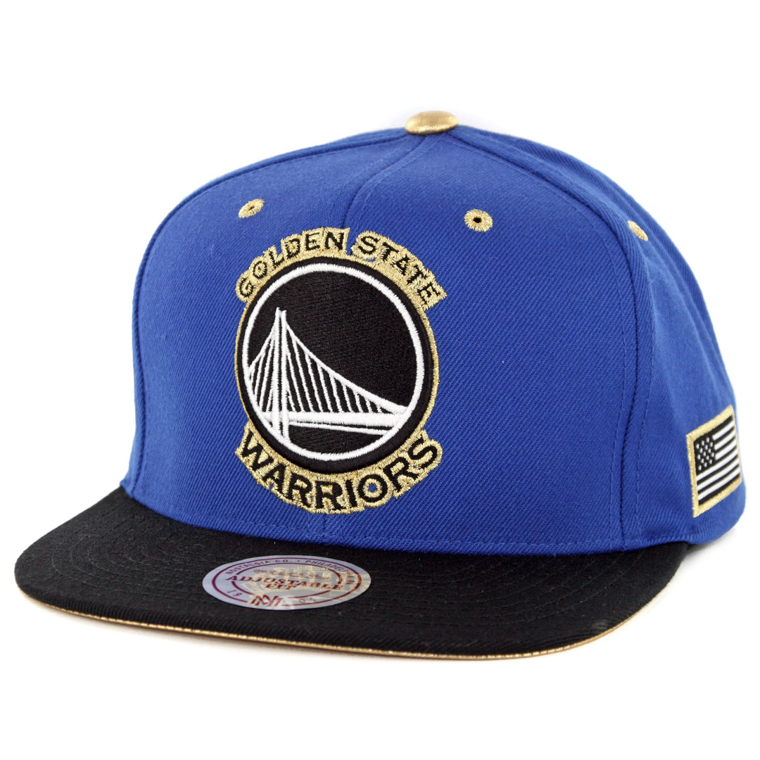 100% authentic 31aa4 4a7be Mitchell   Ness Golden State Warriors Gold Tip Snapback Hat Royal Blue Black