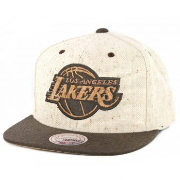47a5763f8a8 Mitchell   Ness Los Angeles Lakers The Natural Strapback Hat Tan ...