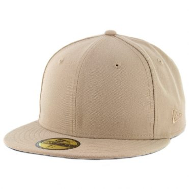 New Era Blanks 59Fifty Plain Blank Fitted Hat Camel Tonal