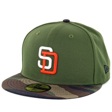 31c1e774384 New Era 59Fifty San Diego Padres Tony Gwynn Logo Fitted Rifle Green  Woodland Camo ...