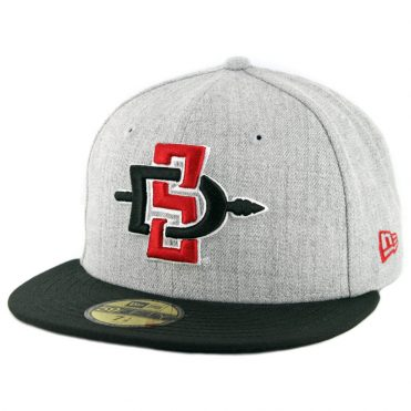 13a9de14bc7c7 New Era 59Fifty San Diego State University Aztecs Fitted Hat Heather Grey  Black ...