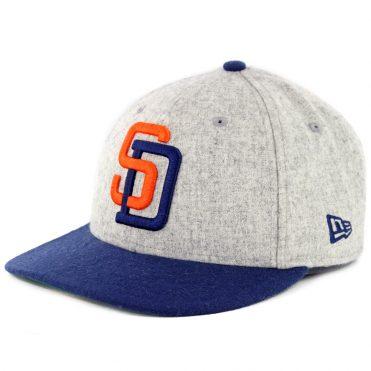 New Era 9Fifty San Diego Padres Melton Throwback '91 Snapback Hat Heather Grey Navy