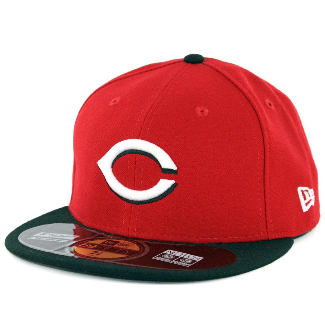 MLB Cap New Era Cincinnati Reds ROAD 59Fifty Fitted Hat Red//Black
