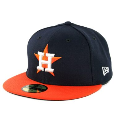 New Era 59Fifty Houston Astros Road Authentic On Field Fitted Hat Navy Orange