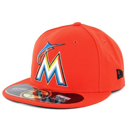 New Era 59Fifty Miami Marlins 2017 Road Authentic On Field Fitted Hat Orange
