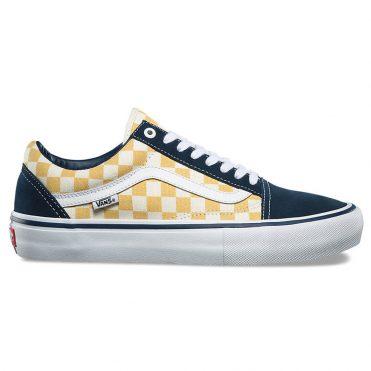Vans Old Skool Pro Shoe Checkerboard Dress Blue Ochre