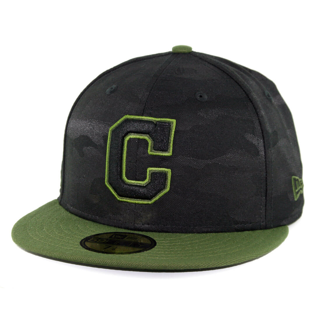 half off bd92e 12785 New Era 59Fifty Cleveland Indians 2018 Memorial Day Fitted Hat Black Army  Green