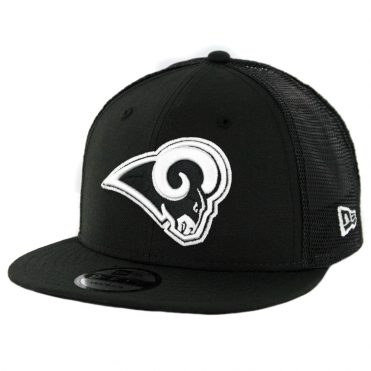 New Era 9Fifty Los Angeles Rams Trucker Mesh Snapback Hat Black White