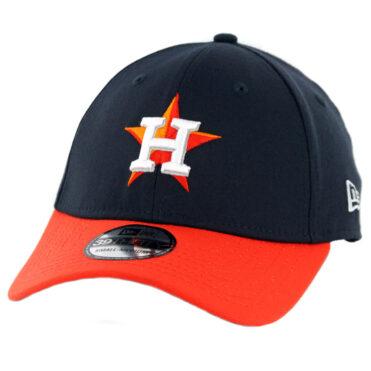 New Era 39Thirty Houston Astros Road Team Classic Stretch Fit Hat Navy Orange