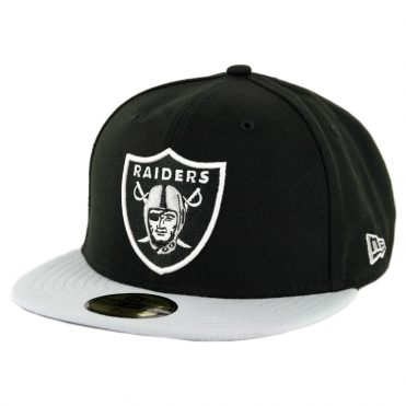 New Era 59Fifty Oakland Raiders Fitted Hat Black Light Grey