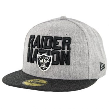 New Era 59Fifty Oakland Raiders Raider Nation Fitted Hat Heather Grey Heather Black