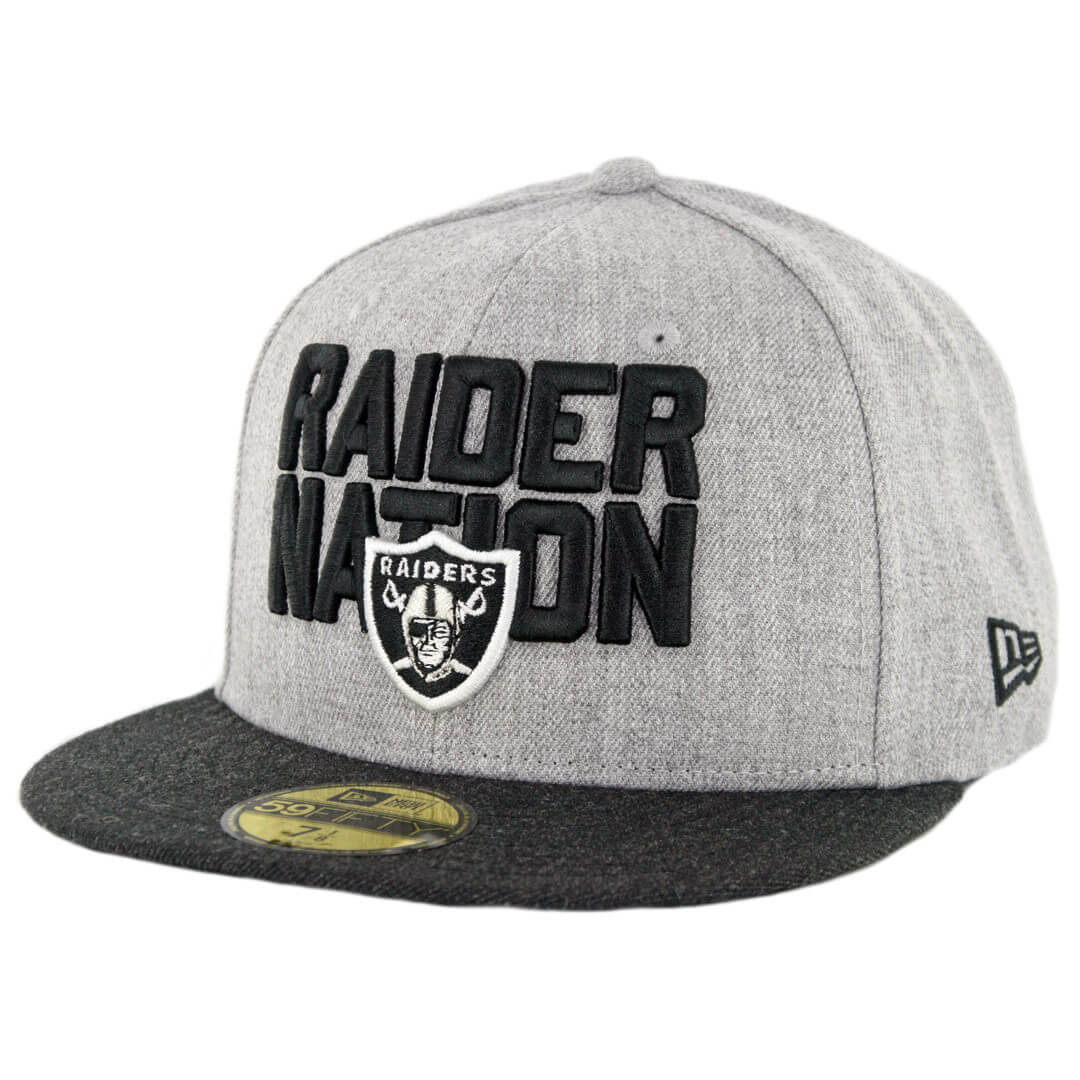 huge selection of 7f25b 207e2 New Era 59Fifty Oakland Raiders Raider Nation Fitted Hat Heather Grey  Heather Black