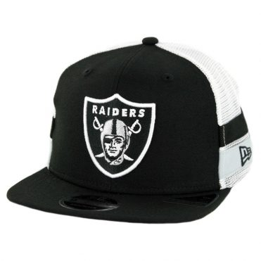 New Era 9Fifty Oakland Raiders Striped Side Lineup Snapback Hat Black