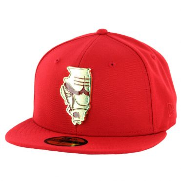 New Era 59Fifty Chicago Bulls Gold Stated Fitted Hat Red