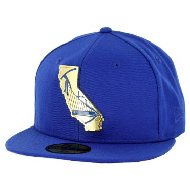 New Era 59Fifty Golden State Warriors Gold Stated Fitted Hat Royal Blue