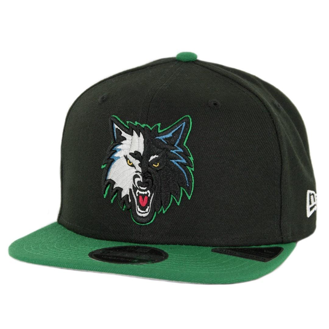 the best attitude 53a8b 1486a New Era 9Fifty Minnesota Timberwolves Nights 7 Snapback Hat Black Kelly  Green