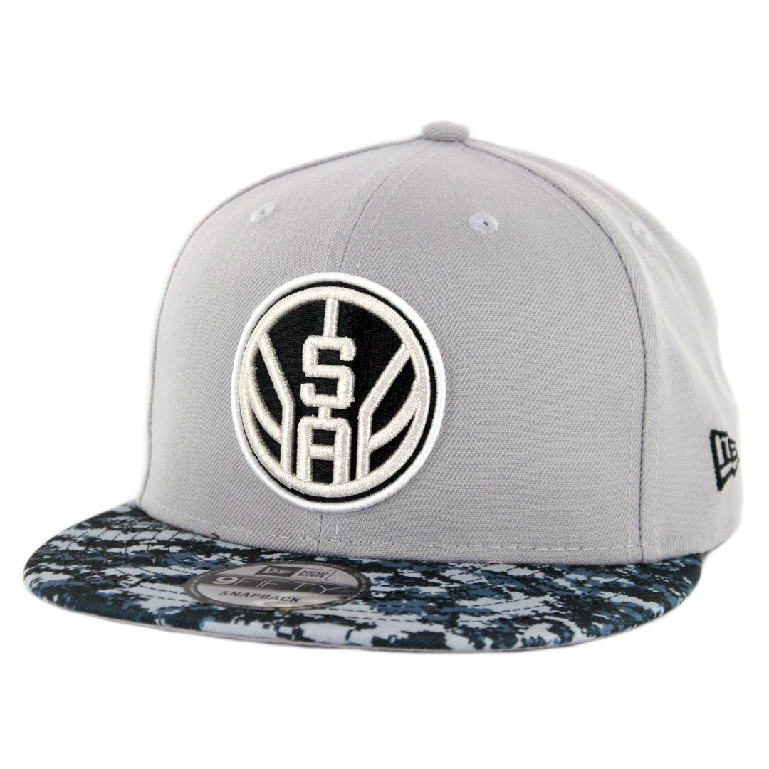 new product b8db5 f8b8d New Era 9Fifty San Antonio Spurs Alternate City Series 2018 Snapback Hat  Grey Digi Camo Blue