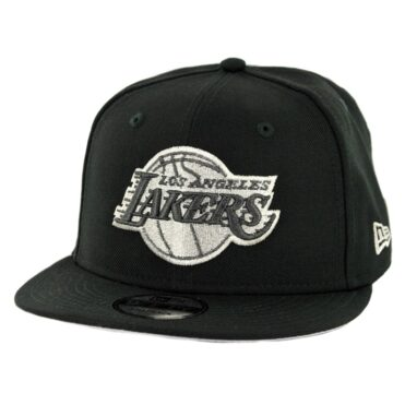 81a443e4d05 New Era 9Fifty Los Angeles Lakers Snapback Hat Black Metallic Silver ...