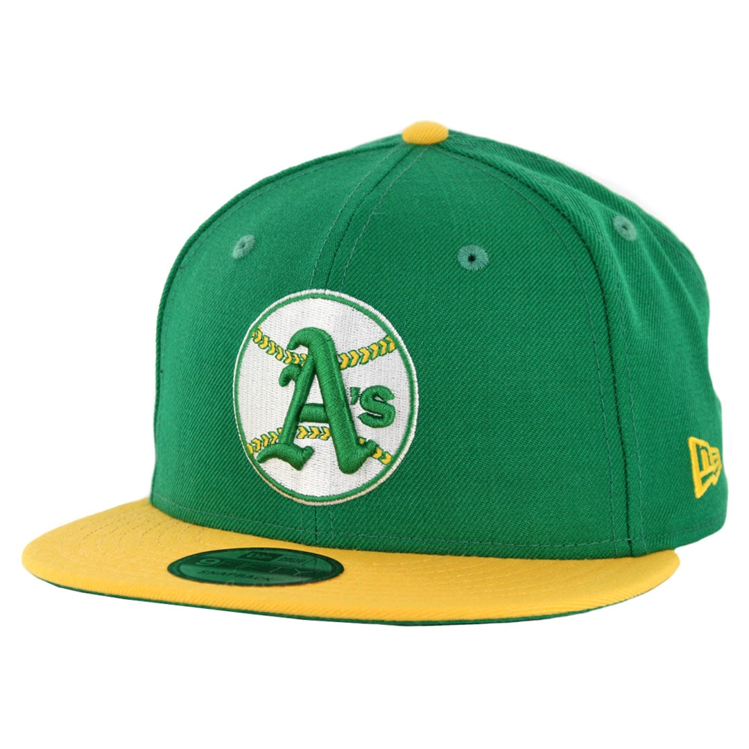 new styles 73e11 3c861 New Era 9Fifty Oakland Athletics Cooperstown Logo Pack Snapback Hat Kelly  Green