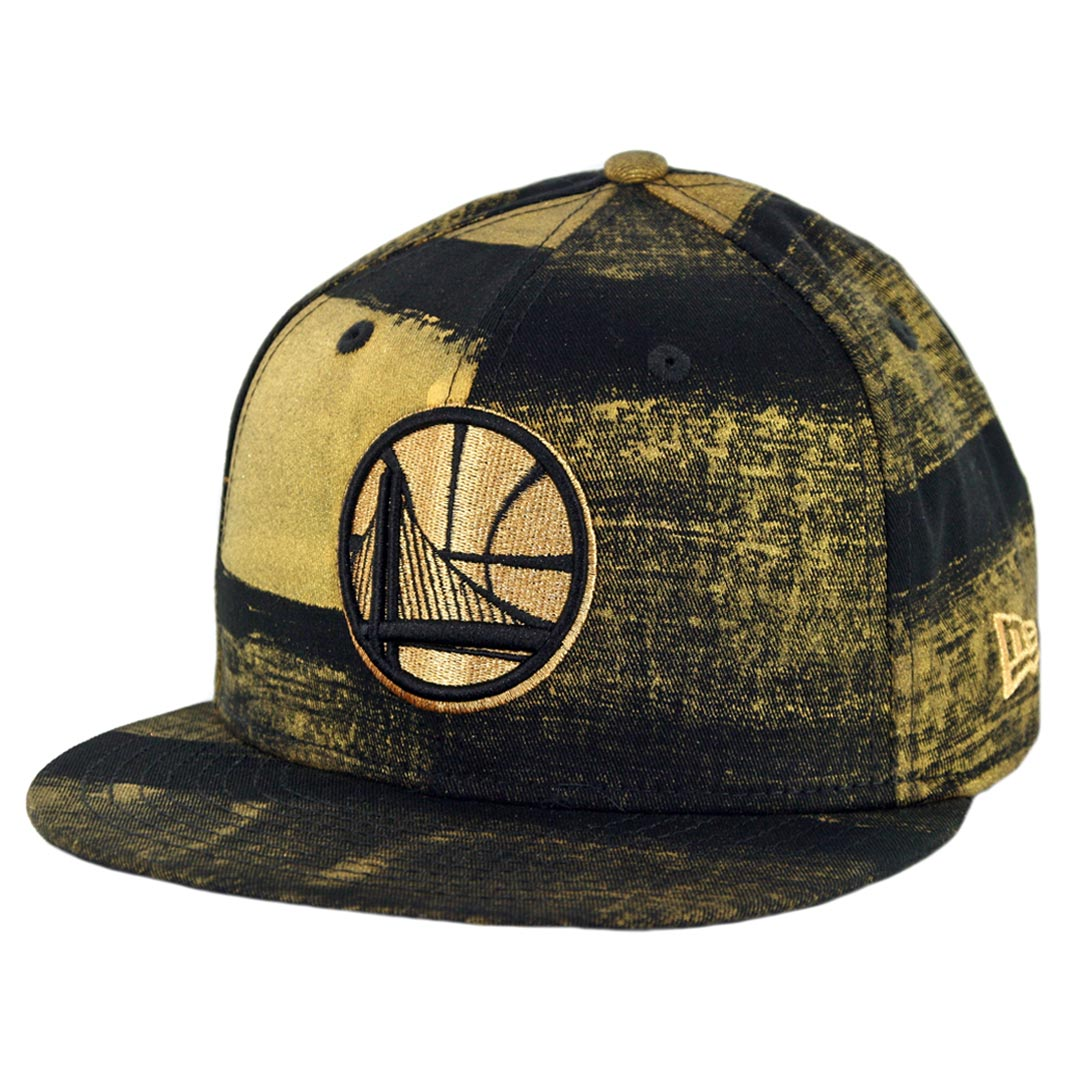 cd52fe2138d3fe New Era 9Fifty Golden State Warriors Painted Prime Snapback Hat Black Gold