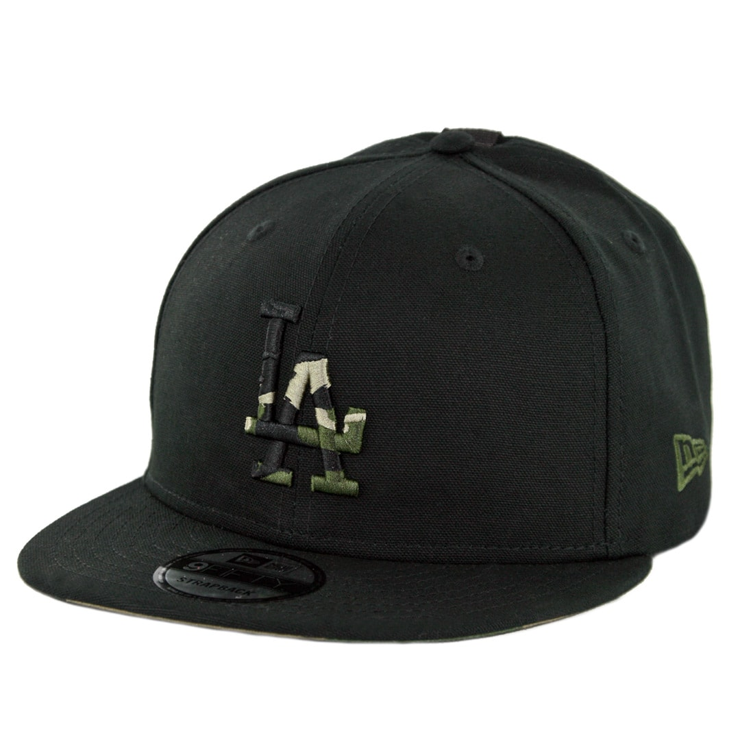 28762d67cefb72 New Era 9Fifty Los Angeles Dodgers Camo Hit Strapback Hat Black Woodland  Camo