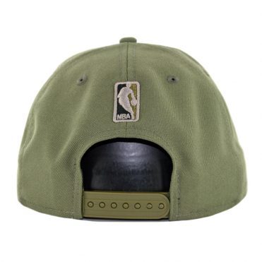 New Era 9Fifty Golden State Warriors Camo Trim Snapback Hat Olive Green