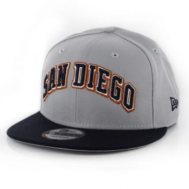 New Era 9Fifty San Diego Padres Wordmark Snapback Hat Grey Dark Navy