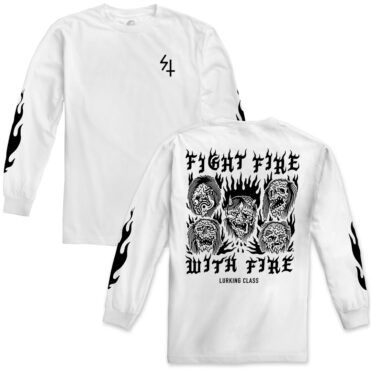 Sketchy Tank Fight Fire Long Sleeve T-Shirt White