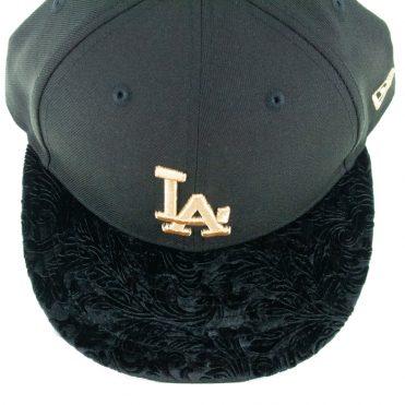 New Era 9Fifty Los Angeles Dodgers Velvet Visor Snapback Hat Black Gold